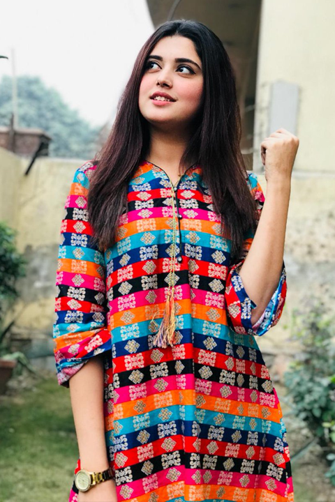 Kanwal Aftab in beautiful colorful outfit