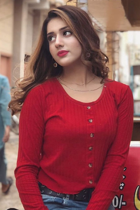 Jannat Mirza in beautiful red dress and red lips stick, with falling hair
