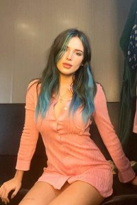 Bella Thorne in baby pink color dress