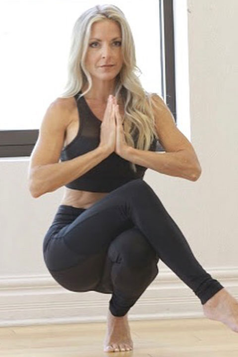 Kim Challan is doing yoga and looking hot in black bra and trouser