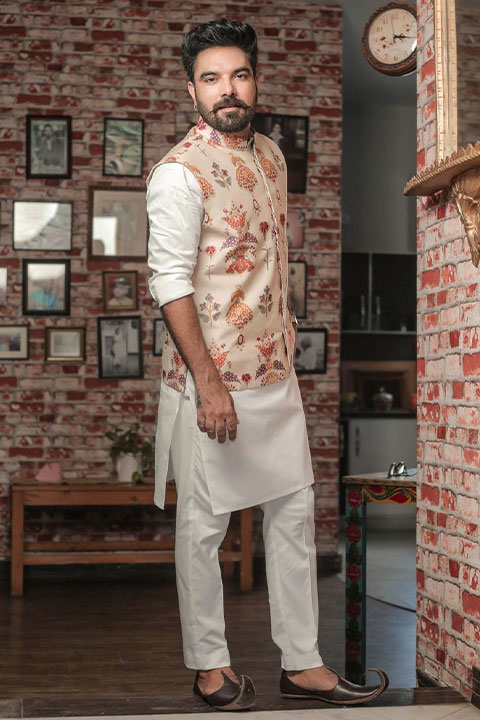 Yasir Hussain in white kameez shalwar and waist coat