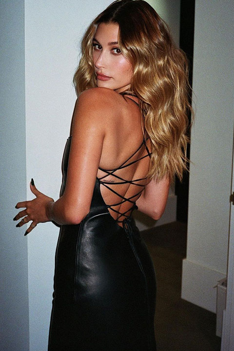 Hailey Bieber in hot black dress