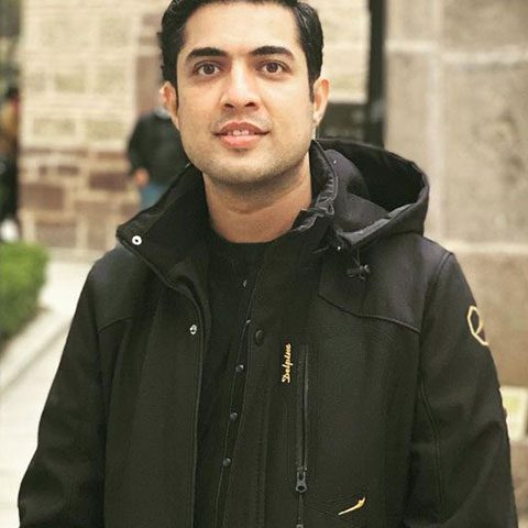 Iqrar Ul Hassan in black dress and jacket