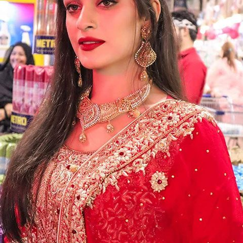 Maira shah in red dress and lipstick